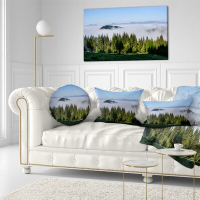 Trees and Fog over Mountains Landscape Printed Throw Pillow Size: 16 x 16