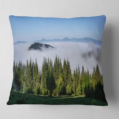 Trees and Fog over Mountains Landscape Printed Pillow Size: 18 x 18, Product Type: Throw Pillow