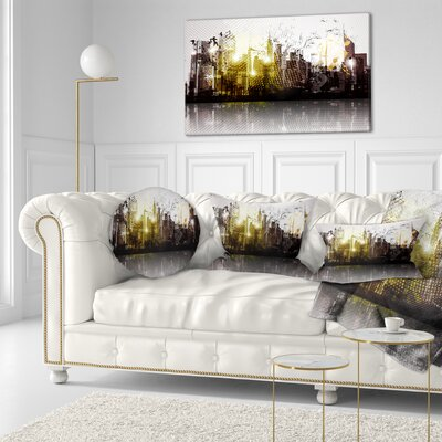 Grunge City Panorama Cityscape Throw Pillow Size: 20 x 20