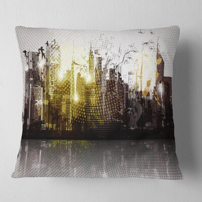 Grunge City Panorama Cityscape Pillow Size: 16 x 16, Product Type: Throw Pillow