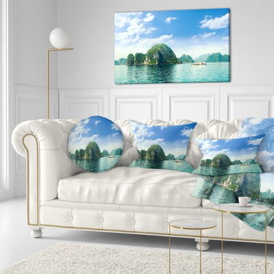 Ha Long Bay in Vietnam Seascape Throw Pillow Size: 16 x 16