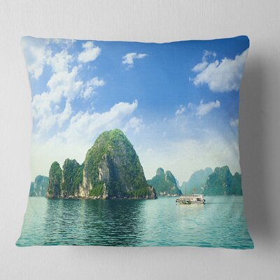 Ha Long Bay in Vietnam Seascape Pillow Size: 18 x 18, Product Type: Throw Pillow