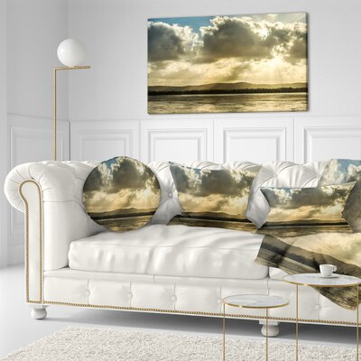 Heavy Clouds over Foreshore Reserve Seashore Throw Pillow Size: 20 x 20