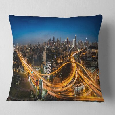 Highway and Main Traffic Bangkok Cityscape Pillow Size: 18 x 18, Product Type: Throw Pillow