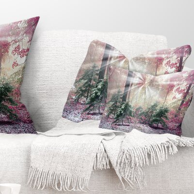 Forest with Sun Rays Landscape Photo Pillow Size: 12 x 20, Product Type: Lumbar Pillow