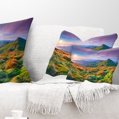Sky and Mountains Landscape Photo Pillow Size: 12