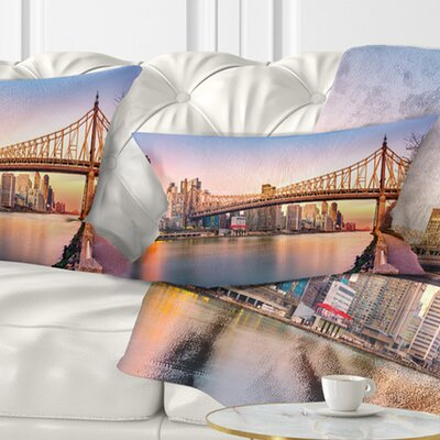 Queenboro Bridge Panorama at Sunset Cityscape Pillow Size: 12 x 20, Product Type: Lumbar Pillow