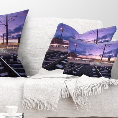 Rail Crossing with Blur Car Lights Cityscape Photo Pillow Size: 12 x 20, Product Type: Lumbar Pillow