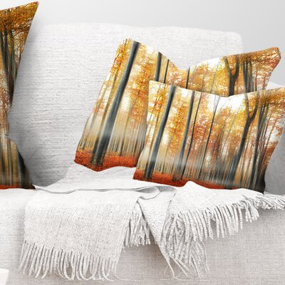Leaves in Fall Landscape Photo Pillow Size: 12 x 20, Product Type: Lumbar Pillow