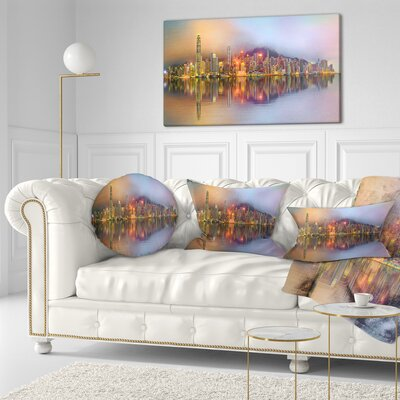 Singapore Financial District Island Cityscape Throw Pillow Size: 20 x 20