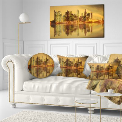 Singapore Marina Bay Skyscrapers Cityscape Throw Pillow Size: 16 x 16