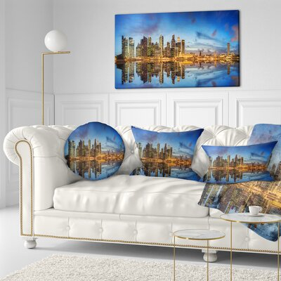 Singapore Skyline and View of Marina Bay Cityscape Throw Pillow Size: 16 x 16