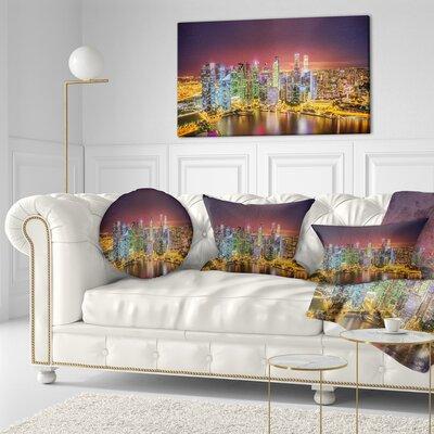 Singapore Skyline View of Marina Bay Cityscape Throw Pillow Size: 16 x 16
