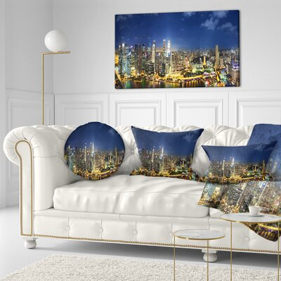 Singapore Skyscrapers Panorama Cityscape Throw Pillow Size: 20 x 20