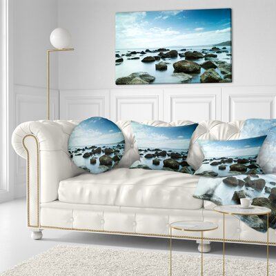 Sleeping Sea Under Sky Landscape Photo Throw Pillow Size: 20 x 20