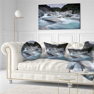 Slow Motion Mountain River and Rocks Landscape Printed Throw Pillow Size: 16 x 16