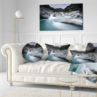 Slow Motion Mountain River in Blue Seashore Throw Pillow Size: 16 x 16