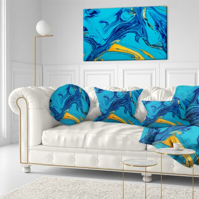 Soft Abstract Acrylic Paint Mix Abstract Throw Pillow Size: 16 x 16