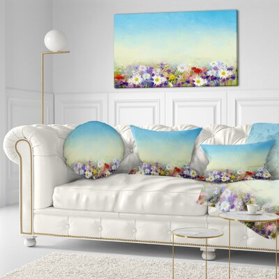 Soft Flowers in Spring Background Floral Throw Pillow Size: 20 x 20
