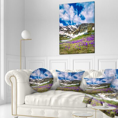 Spring Blooming Crocus Flowers Landscape Printed Throw Pillow Size: 16 x 16