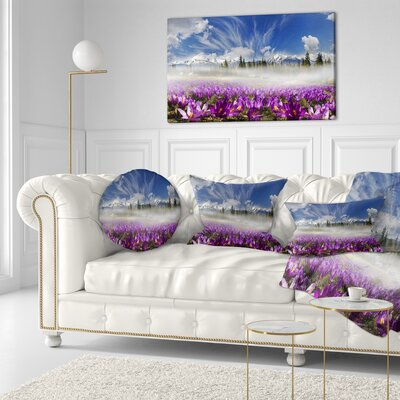 Spring Flowers Crocuses Floral Photography Throw Pillow Size: 16 x 16