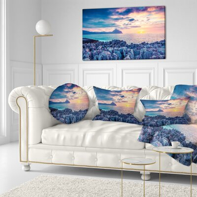 Spring Sunset over Monte Cofano Landscape Photography Throw Pillow Size: 16 x 16