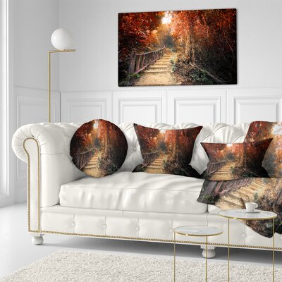 Stairway Through Fall Forest Landscape Photography Throw Pillow Size: 16 x 16