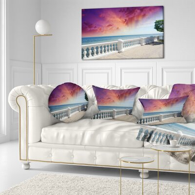 Stone Balcony with Ocean View Seashore Photo Throw Pillow Size: 16 x 16