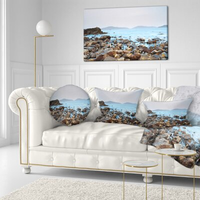 Stones on Shore of Port Shelter HK Seashore Throw Pillow Size: 16 x 16