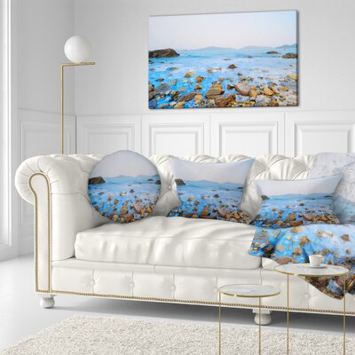 Stony Port Shelter Beach Hong Kong Seashore Throw Pillow Size: 16 x 16