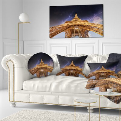 Storm above Eiffel Towerin Paris Cityscape Throw Pillow Size: 16 x 16