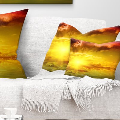 Dramatic Sky with Sun Landscape Printed Pillow Size: 12 x 20, Product Type: Lumbar Pillow