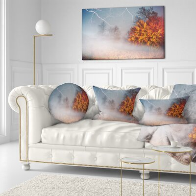 Storm and Lighting in Autumn Forest Landscape Photography Throw Pillow Size: 20 x 20