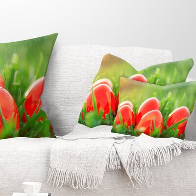 Easter Eggs in Grass Landscape Photography Pillow Size: 12 x 20, Product Type: Lumbar Pillow