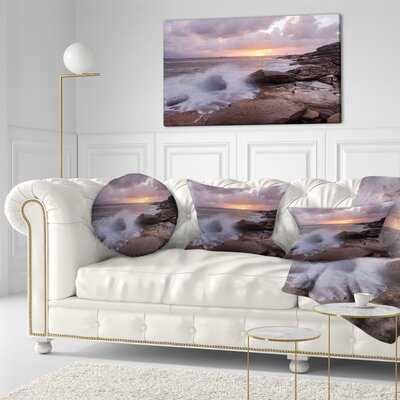 Stormy Waves in Beautiful Australia Beach Seashore Throw Pillow Size: 16 x 16