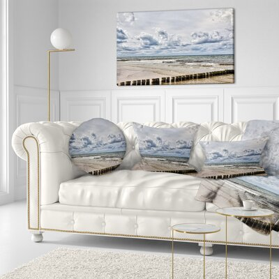 Stormy Weather in Hiddensee Sea Seascape Throw Pillow Size: 16 x 16