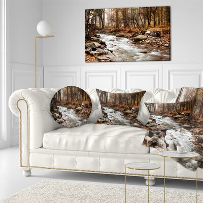 Stream in Autumn Forest Landscape Photography Throw Pillow Size: 20 x 20