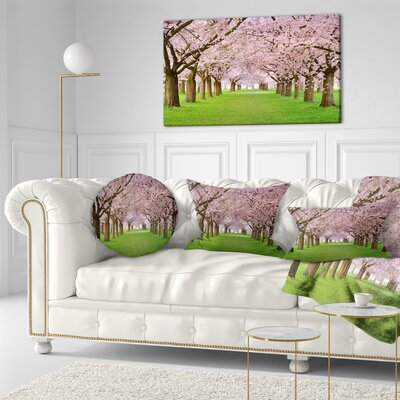 Stunning Cherry Blossoms Plenitude Landscape Printed Throw Pillow Size: 16 x 16
