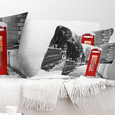 London Telephone Booth Cityscape Pillow Size: 12 x 20, Product Type: Lumbar Pillow