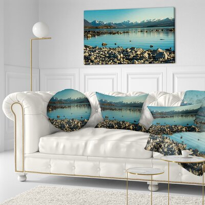 Waters in Rocky Beach Panorama Landscape Printed Throw Pillow Size: 20 x 20
