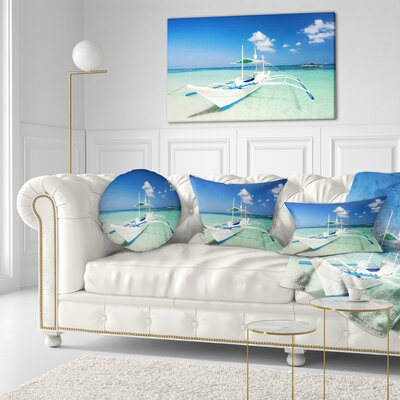 Boat in Sea Water Seascape Throw Pillow Size: 20 x 20