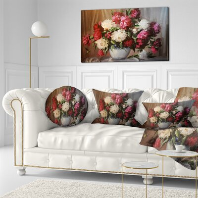 Bouquet of Blooming Peonies Floral Throw Pillow Size: 20 x 20