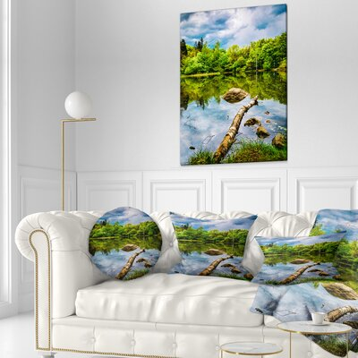 Boyana Lake in Sofia Bulgaria Landscape Printed Throw Pillow Size: 20 x 20
