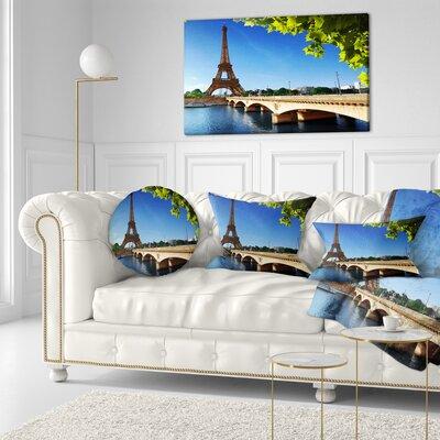 Bridge to Paris Eiffel TowerParis Cityscape Throw Pillow Size: 16 x 16