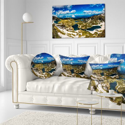 Bright Sky over Seven Rila Lakes Landscape Printed Throw Pillow Size: 20 x 20