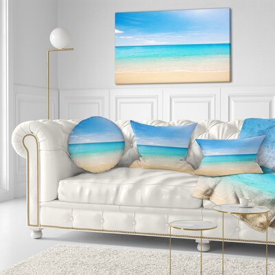 Bright Tropical Beach Seashore Photo Throw Pillow Size: 20 x 20