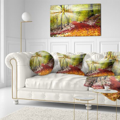 Bright Alpine Forest Landscape Photo Throw Pillow Size: 16 x 16