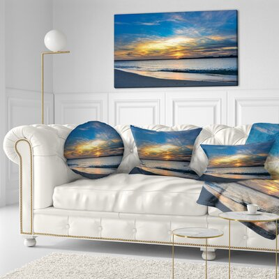 Bright Sydney Sky over Beach Seashore Throw Pillow Size: 20 x 20
