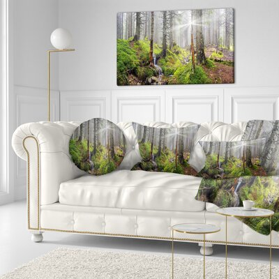 Bright Carpathian Forest Landscape Photography Throw Pillow Size: 16 x 16