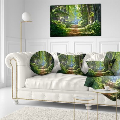 Bright Forest in Morning Landscape Photography Throw Pillow Size: 20 x 20